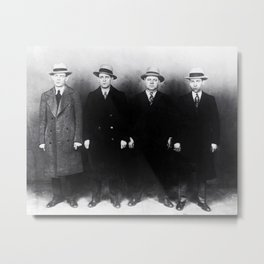 The Syndicate - 'Lucky' Luciano & New York gangsters Ed Diamond, Jack Diamond, & Fatty Walsh black and white photography / photographs Metal Print