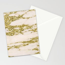 Marble - Gold Marble Glittery Light Pink and Yellow Gold Stationery Cards