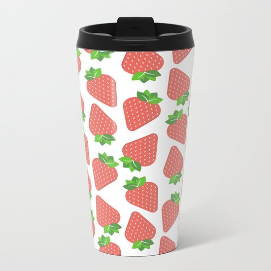 Strawberries Over White Metal Travel Mug