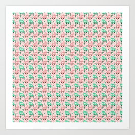Small Camper Vans in Pink and Mint with Green Cactus and Pink Flowers Art Print
