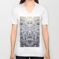 snowflake V-neck T-shirts featuring Snowflake by Kristin Edoy Design