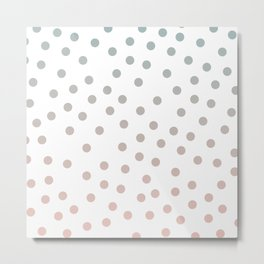 Simply Dots in Coral Peach Sea Green Gradient on White Metal Print