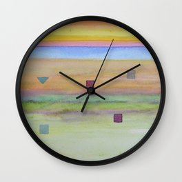 Romantic Landscape combined with Geometric Elements Wall Clock