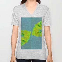 Summer Leaves, Spring Leaves, green and teal blue Unisex V-Neck