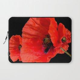 Poppies on Black Laptop Sleeve