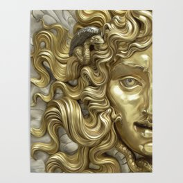 """Ancient Golden and Silver Medusa Myth"" Poster"