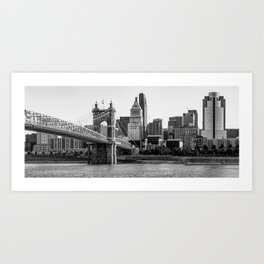 The Queen City Panoramic - Cincinnati Skyline - Black and White Art Print