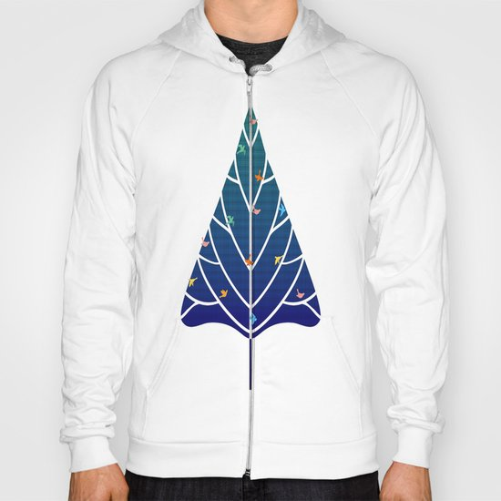 Tree with birds (blue-red) Hoody