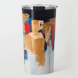 Abstract painting, gold leaf Travel Mug