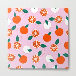 Fresh Orange Pattern on Rose Colored background  Metal Print