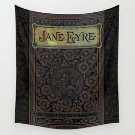 Jane Eyre by Charlotte Bronte, Vintage Book Cover Wall Tapestry