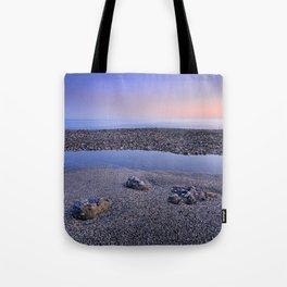 Calm at the beach. Serenity sea at sunset Tote Bag