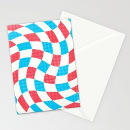 Red White and Blue Squares Stripes and Swirls Geometric Pattern Stationery Cards