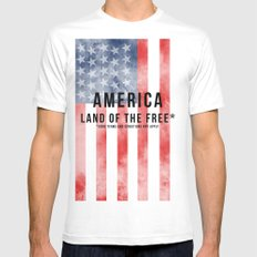 America: Land of the Free*  Mens Fitted Tee White MEDIUM
