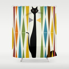 Mid-Century Modern Art Cat 2 Shower Curtain