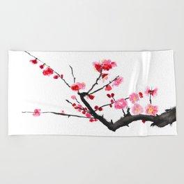 red plum flower Beach Towel