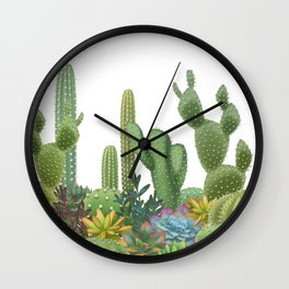 Milagritos Cacti on white background. Wall Clock