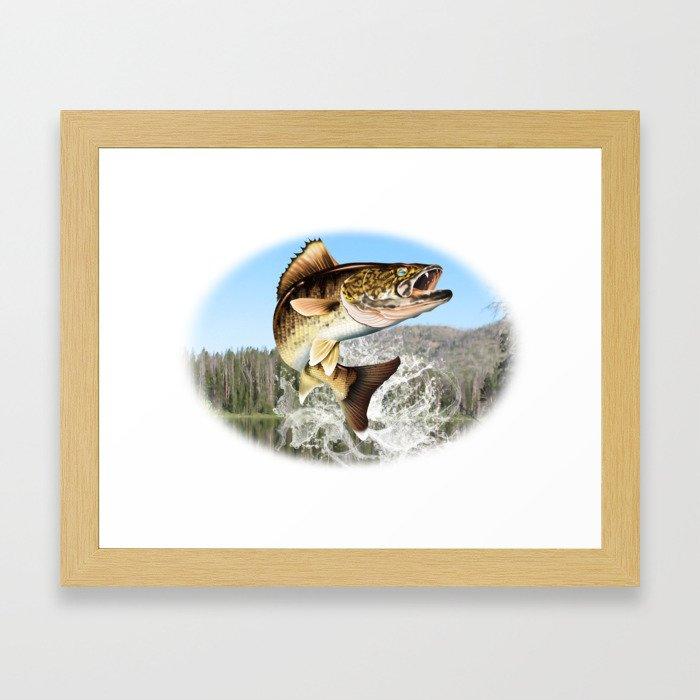 Walleye Jumping  Framed Art Print