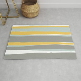 Stripe Abstract, Sun and Beach, Yellow, Pale, Aqua Blue and Gray Rug