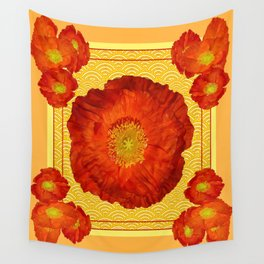 Orangy-Red Oriental Poppy Yellow-Red Pattern Art Wall Tapestry