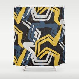Mustard lines Shower Curtain