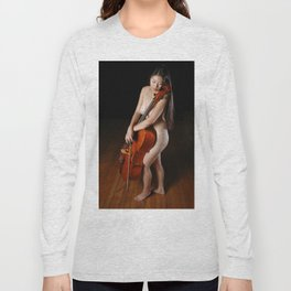 0199-JC Nude Cellist with Her Cello and Bow Naked Young Woman Musician Art Sexy Erotic Sweet Sensual Long Sleeve T-shirt