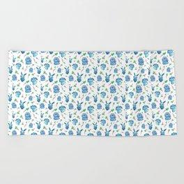 Blue Bunny Pattern Beach Towel