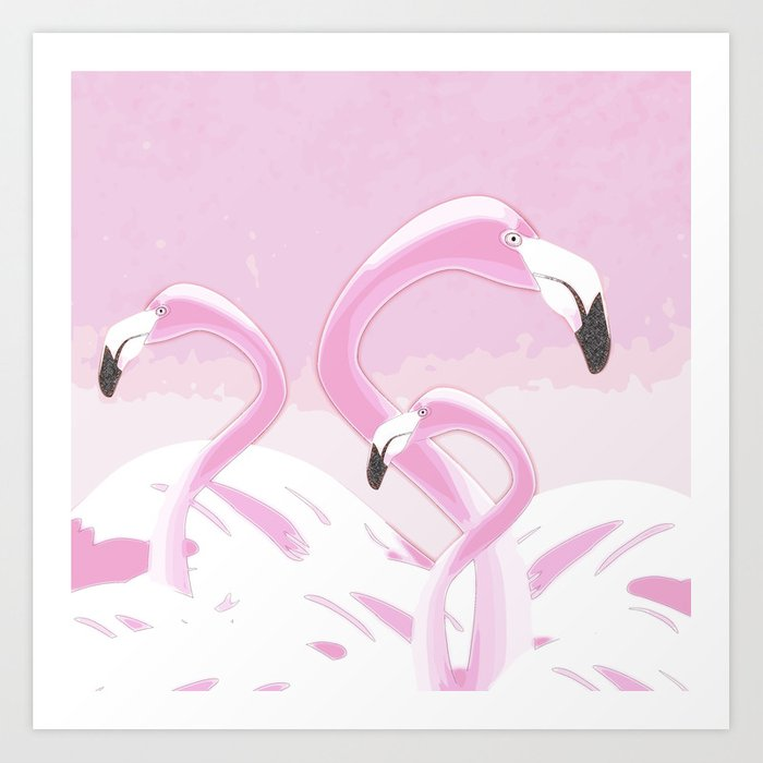 Soft Pink Flamingos Design Art Print
