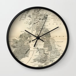 Vintage and Retro Geological Map British Isles Wall Clock