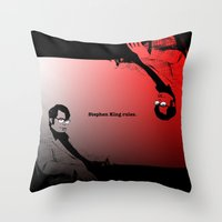 stephen king Throw Pillows featuring Stephen King Rules by Hazel Bellhop
