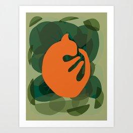 Socca The Ginger Cat Asleep in the Garden Illustration  Art Print