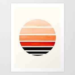 Burnt Sienna Mid Century Modern Minimalist Circle Round Photo Staggered Sunset Geometric Stripe Desi Art Print