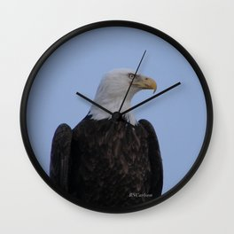 Bald Eagle on Watch along the Kenai River Wall Clock
