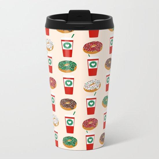 Coffee donuts foodie brunch breakfast desserts coffee lovers gifts Metal Travel Mug