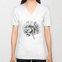 peony V-neck T-shirts featuring Peony by Lily Sayang