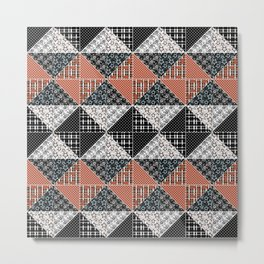 Multicolored black and brown patchwork . Metal Print