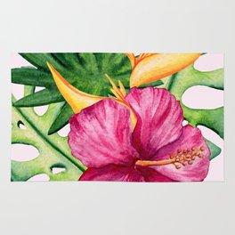 Tropical Hibiscus Summer Bouquet Rug