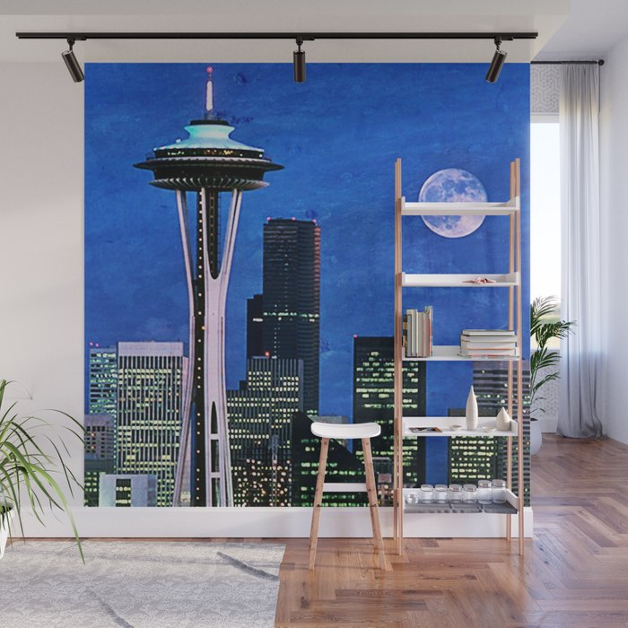 Blue Seattle Space Needle Wall Mural