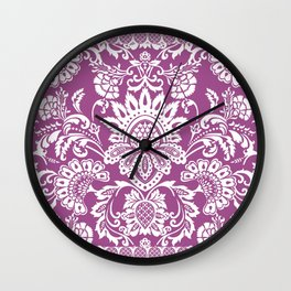 Damask in cyclamen Wall Clock