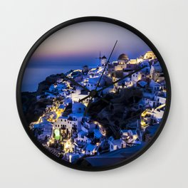 Santorini Island NightView Greece Wall Clock