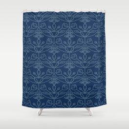 Damask motif sashiko stitch pattern. Shower Curtain