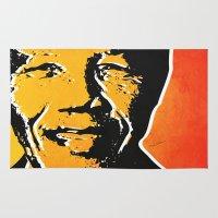 mandela Area & Throw Rugs featuring nelson mandela by mark ashkenazi