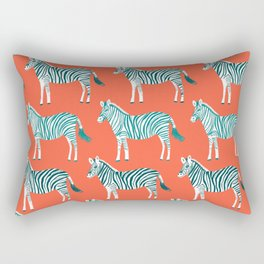 Zebra Parade Pattern Flame Teal Rectangular Pillow