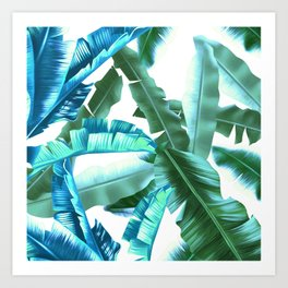 tropical banana leaves pattern turquoise Art Print