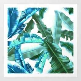 tropical banana leaves pattern turquoise Art Print