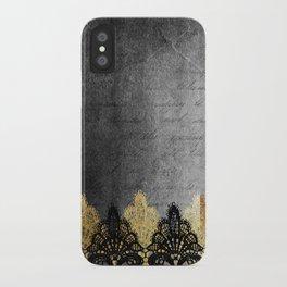 Pure elegance II - Luxury Gold and black lace on grunge dark background iPhone Case