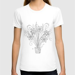 monochrome contour illustration narcissus in the flower pot T-shirt