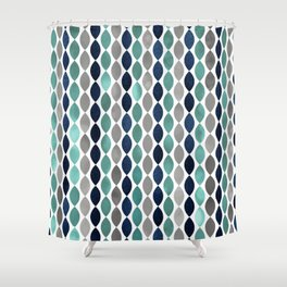 Oval Stripes Aqua and Navy Shower Curtain