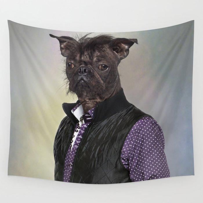 Hairless dog, mix French bulldog / Chinese Crested Dog Wall Tapestry by  lifeonwhitecreative