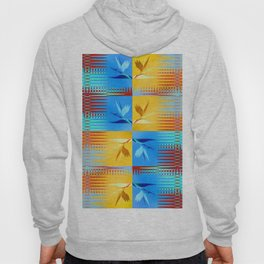 Birds of Paradise Retro Floral Blue and Gold Hoody